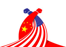 Arm Wrestling Business Hand Of America And China Flag, Trade War And Tax Crisis Concept Design Illustration Isolated On White Background With Copy Space, Vector Eps 10