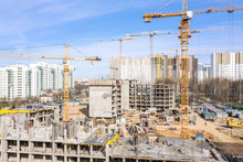 Urban Construction Site With Tower Cranes. Aerial View