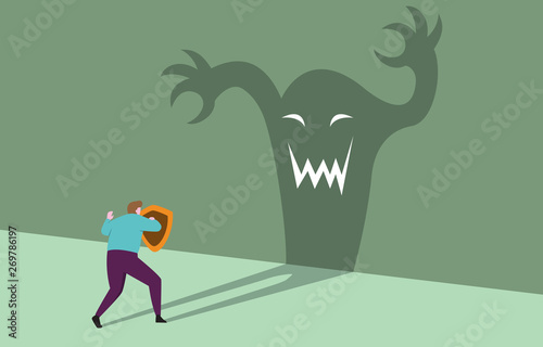Fotografía Courage Businessman with Shield Ready Confident Facing Monster Shadow Business T