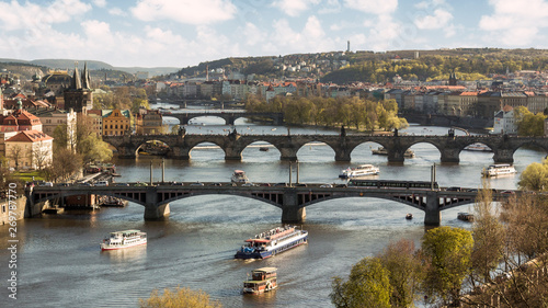 Poster Prague Scenic landscape of the bridges of the Moldava River in Prague
