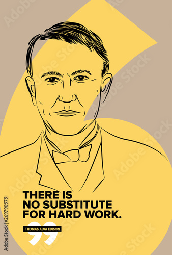 Slika na platnu Thomas Alva Edison vector sketch illustration with motivational quote