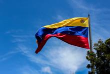 Venezuela Flag Waving In The Wind, Blue Sky Cleared.