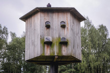 Old Type Of Wooden Dovecote In Poland