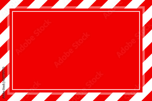 Foto warning sign red white stripe frame template background copy space, red banner f