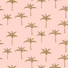 Palm Trees Gold On Pink Retro Style Seamless Pattern Design.