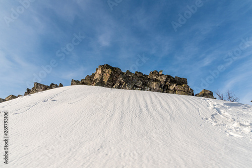 Obraz na plátně  rock on Ztracene kameny in winter Jeseniky mountains in Czech republic
