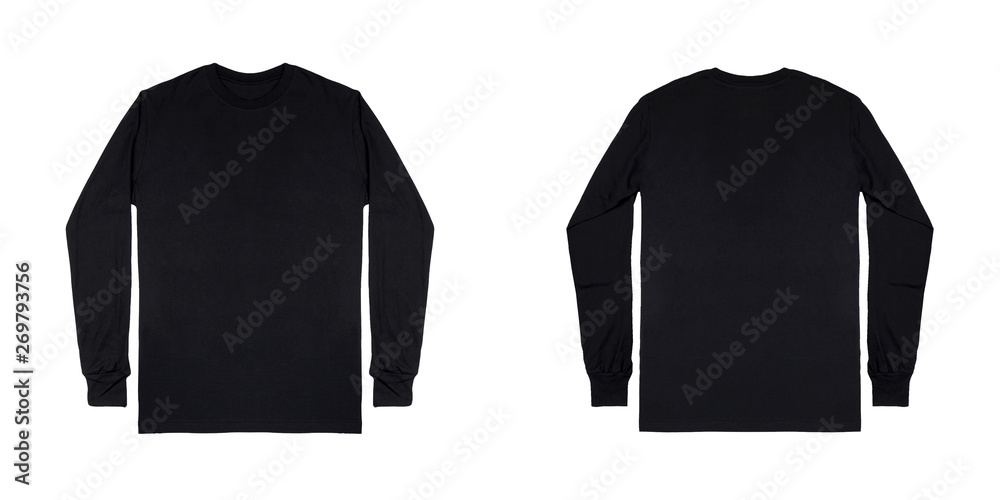 Fototapeta Black long sleeve t shirt front and back view isolated on white background.