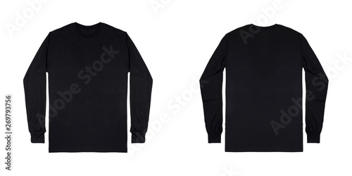 Fotomural Black long sleeve t shirt front and back view isolated on white background