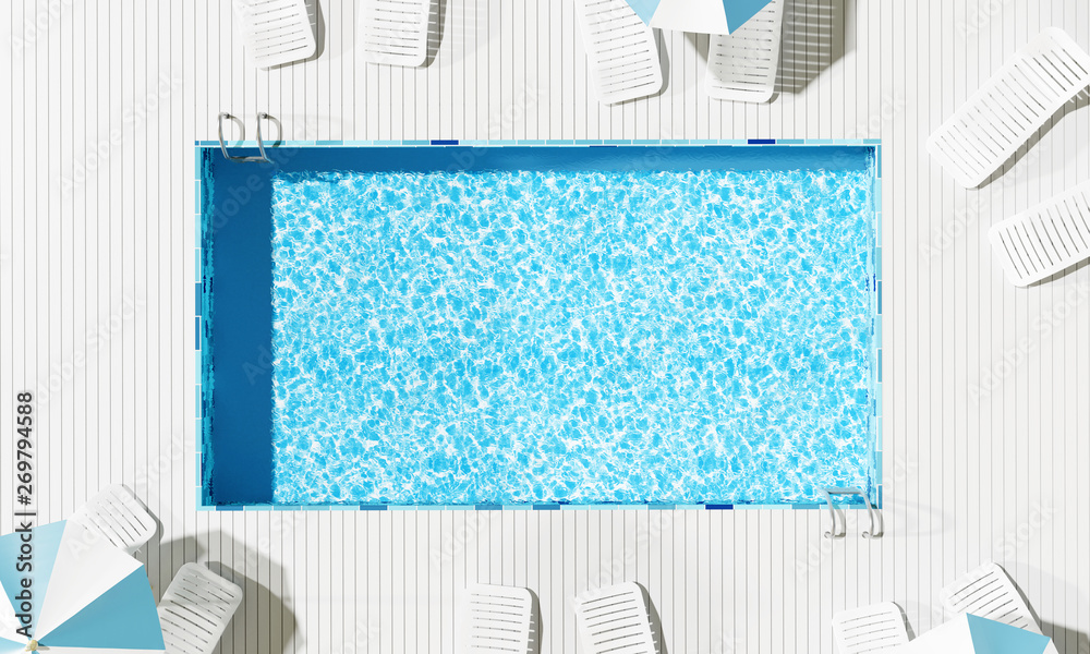 Fototapety, obrazy: Top view Swimming pool with beach umbrella and chairs. Summer concept. 3d rendering