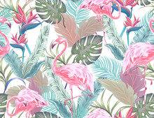 Tropical Seamless Pattern With Pink Flamingo, Exotic Flowers And Leaves. Vector Patch For Wallpapers, Fabric, Surface Textures, Textile.