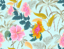 Seamless Pattern With Coconut Palm Trees, Hibiscus And Plants On Blue Background. Vector Patch For Wallpapers, Fabric, Surface Textures, Textile.