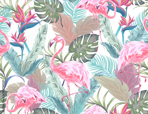 Naklejki Flamingi  naklejka-na-wymiar-tropical-seamless-pattern-with-pink-flamingo-exotic-flowers-and-leaves-vector-patch-for-wallpapers-fabric-surface-textures-textile