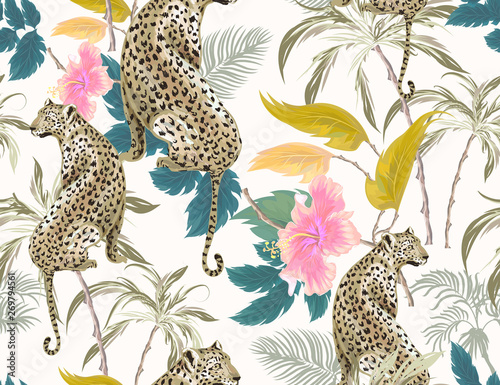 fototapeta na szkło Tropical seamless pattern with exotic trees, leopard, hibiscus and plants on white background. Vector patch for wallpapers, fabric, surface textures, textile.