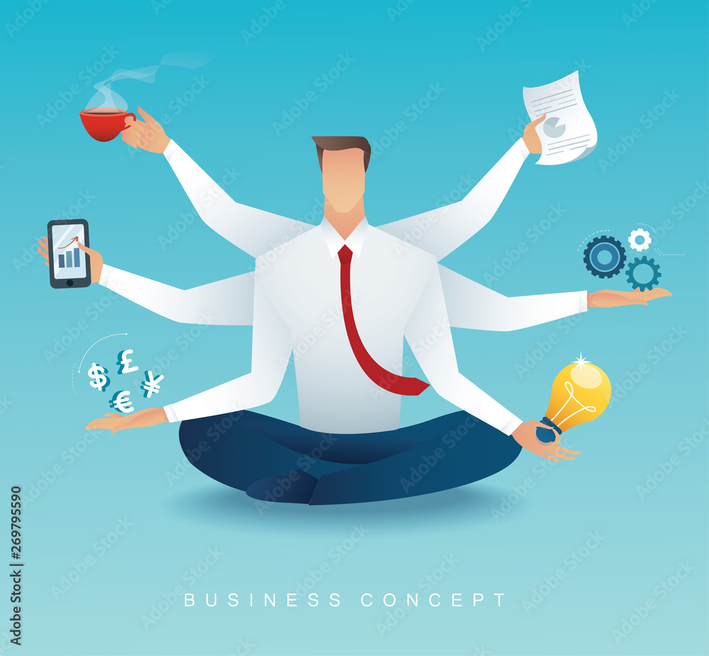 Fototapeta businessmen character multitasking hard work by six arms. concept of working hard vector illustration EPS10