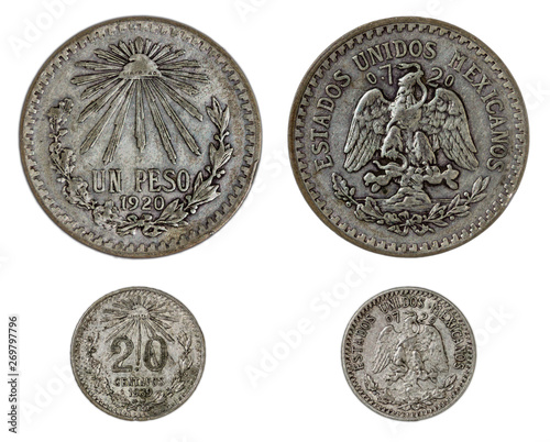 Two old mexican currency silver coins: one $1 Peso 1920 and
