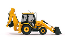 3d Backhoe Loader On White Bac...