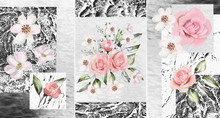 Collection Of Designer Oil Paintings. Decoration For The Interior. Modern Abstract Art On Canvas. Set Of Pictures With Different Textures And Colors. Pink Roses On A Gray Background.