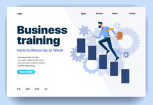 Web Page Flat Design Template For Business Training. Landing Page Training Course With Men Tutor How To Move Up At Work. Modern Vector Illustration Concept For Website And Mobile Website Development