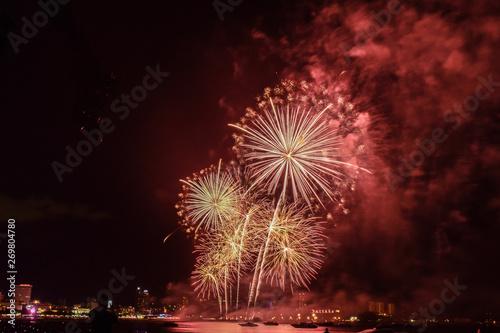 Poster Pleine lune fireworks in the night sky