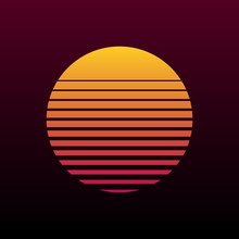Abstract 80s Retro Background With Sun Illustration