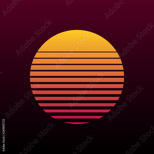 Obraz Abstract 80s retro background with sun illustration - fototapety do salonu