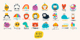 Fototapeta Dinusie - Basic RGBVarious simple, doodle, cute,  minimalistic icons for kids. Hand drawn pre- made logos. Big vector set. Children's drawings style. Design elements. Cartoon style. Flat design. Everything is i
