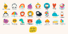 Basic RGBVarious Simple, Doodle, Cute,  Minimalistic Icons For Kids. Hand Drawn Pre- Made Logos. Big Vector Set. Children's Drawings Style. Design Elements. Cartoon Style. Flat Design. Everything Is I