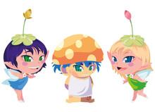 Beautiful Magic Fairies With Fungu Elf Characters