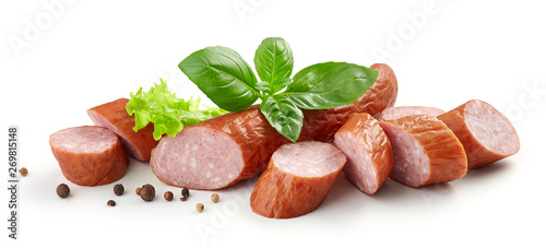 Fototapeta sliced smoked sausage