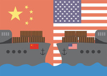 Trade War Concept Between America And China Present By Cargo Boat On Flag Background. Vector Illustration
