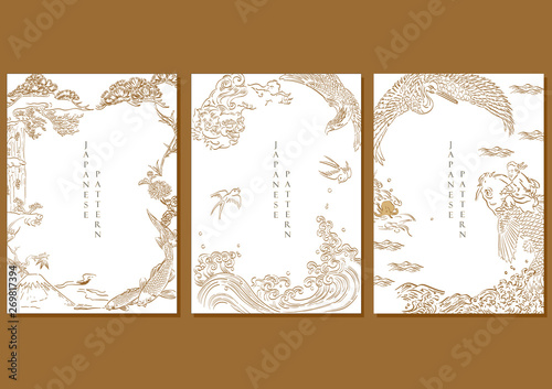 Photo Japanese template vector with Asian hand drawn line background such as Crane birds, carp fish, dragon, falcon, Fuji mountain elements