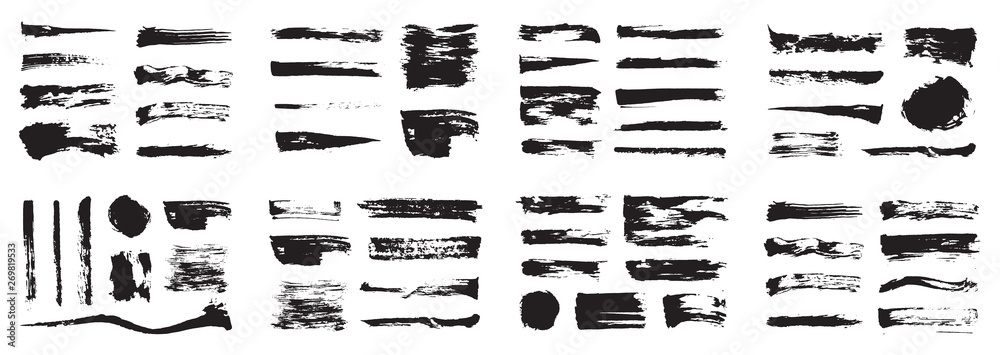 Fototapety, obrazy: Korean, Chinese, Japanese ink brush strokes, blots, sprinkles, dabs and daubs set. Collection of grungy vector ink elements.