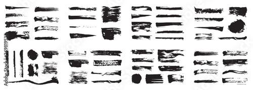 Fotografie, Obraz  Korean, Chinese, Japanese ink brush strokes, blots, sprinkles, dabs and daubs set