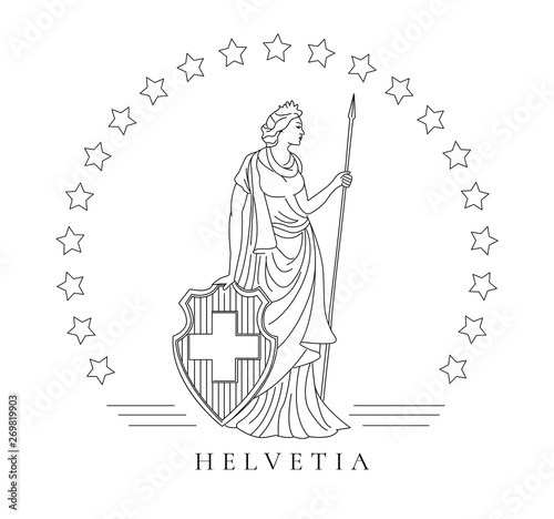 Fotografie, Tablou personified symbol of Switzerland called Helvetia, graphic illustration in line