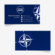 Nato Flag Business Card, Standard Size (90x50 Mm) Business Card Template.