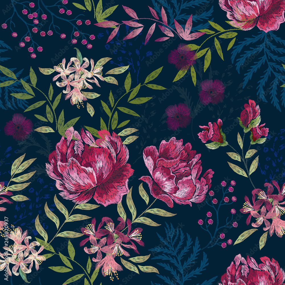 Embroidery trend floral seamless pattern with roses, violets and flowers