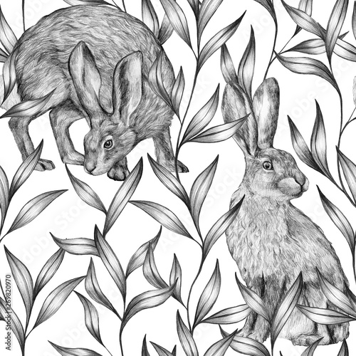 Beautiful vintage seamless pattern. Pencil sketch of hares and ornamental plants. Graphic drawing on a white background. Wild animals and plants. Bunny wallpaper.