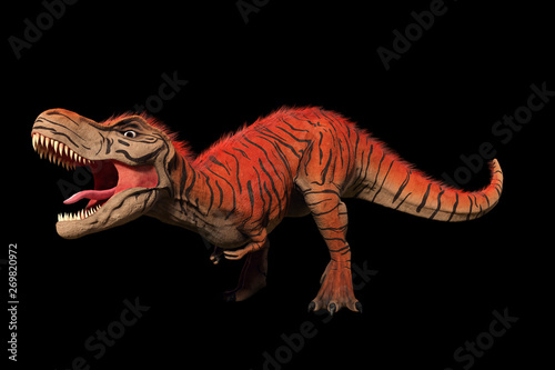 Fototapeta  Tyrannosaurus rex, T-rex dinosaur from the Jurassic period (3d illustration isol
