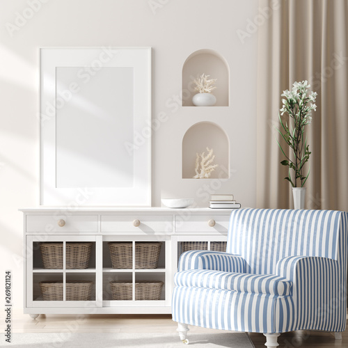 fototapeta na szkło Mock up frame in home interior background, coastal style living room with marine decor, 3d render