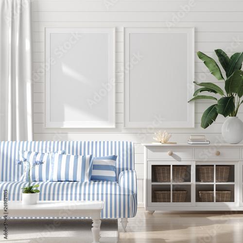 Obraz Mock up frame in home interior background, coastal style living room with marine decor, 3d render - fototapety do salonu