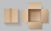 Cardboard Box Top View. Open Closed Boxes Inside And Top, Brown Pack Mockup, Delivery Service Realistic Empty Carton Vector Template