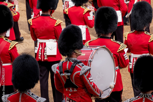 Carta da parati Trooping the Colour, military parade at Horse Guards, London UK, with musicians from the massed bands