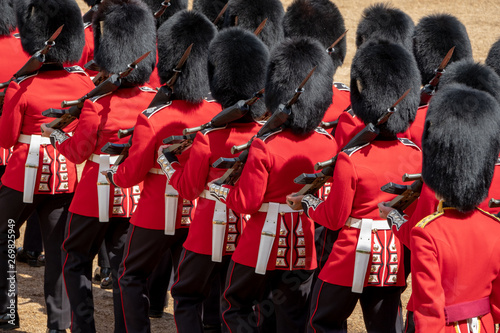 Close up of soldiers marching at the Trooping the Colour military parade at Horse Guards, London UK Fototapete