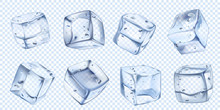 Realistic Ice Cube. Iced Water Cubes For Cool Cocktail. Freezed Aqua Vector Isolated Illustration Set