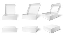 Open Packaging Box. Blank Package Boxes, Opened And Closed White Packages Mockup 3d Vector Illustration Set