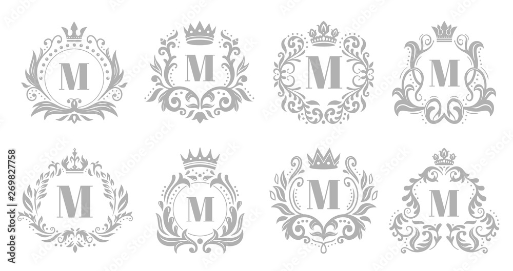 Fototapeta Vintage monogram emblem. Luxury ornate silver logo, heraldic monograms and old king royal crown emblems vector illustration set
