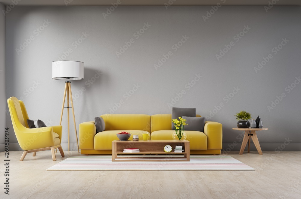 Fototapety, obrazy: Living room with fabric yellow sofa,yellow armchair,lamp and green plant in vase on white wall background. 3d rendering