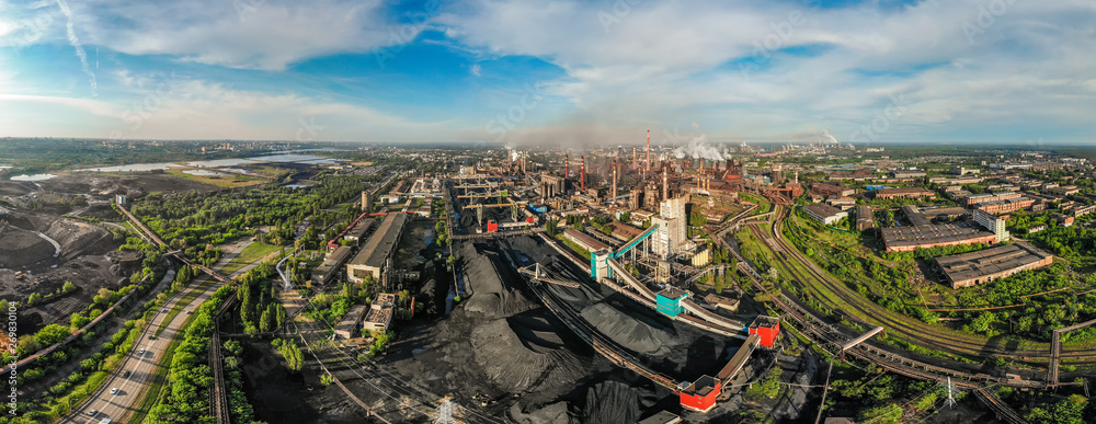 Fototapety, obrazy: Industrial zone landscape aerial view with smoke from metallurgical factory or plant chimneys. Air and environment pollution, global warming