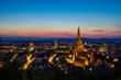 Germany, Romantic evening mood over city freiburg im breisgau in magic hour