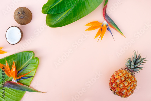 Summer flat lay scenery on white boards